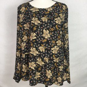 The Limited Floral Boho Long Sleeve Peplum Top